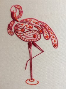 mindfulness flamingo embroidery kit