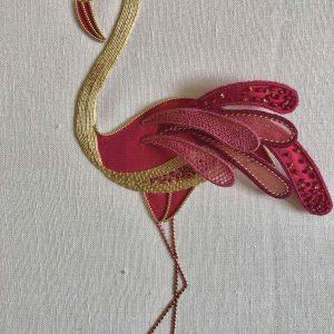 stump and gold flamingo image