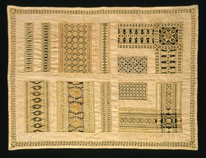 Sampler with drawn thread work embroidery, unknown, 1800, Germany. Museum no. 194-1885. © Victoria and Albert Museum, London