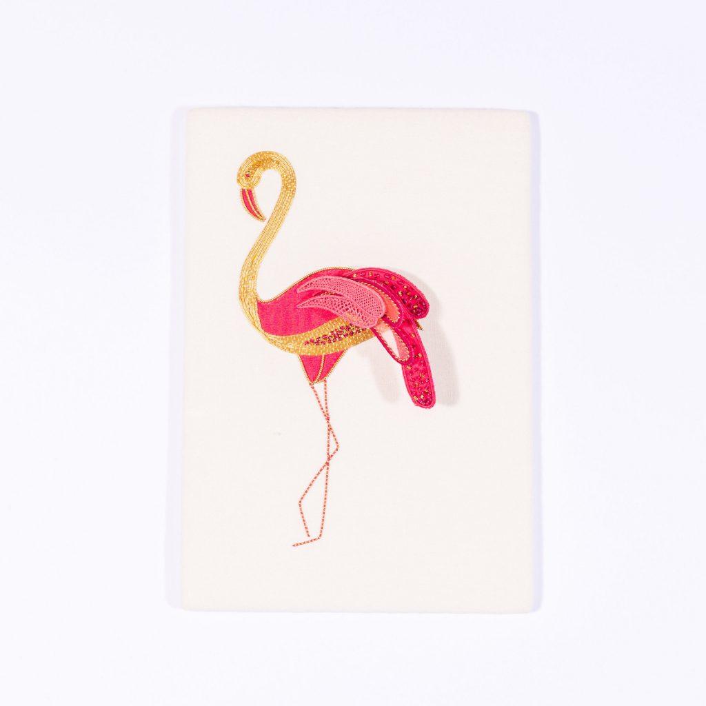 Goldwork and stumpwork flamingo embroidery kit