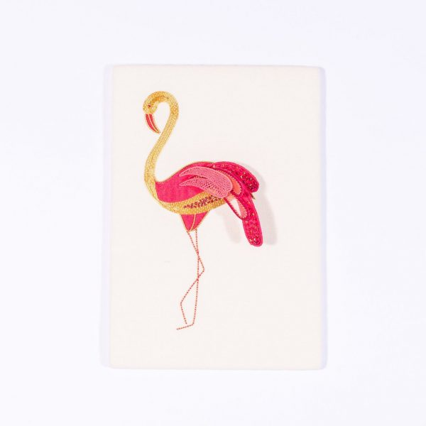 Goldwork and stumpwork flamingo embroidery kit