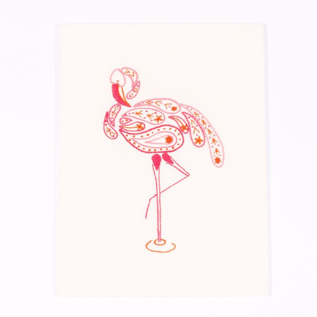 Flamingo design beginners embroidery kit worked in Appleton's wool in stitches such as satin, stem whipped wheels and open fly stitch.