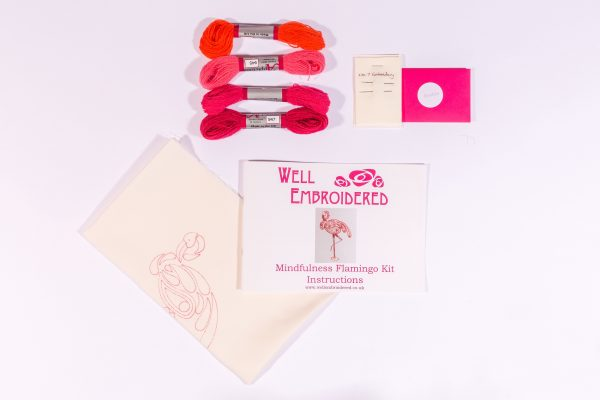 Contents of mindfulness flamingo embroidery kit