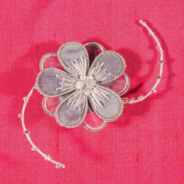 Stumpwork and metal thread embroidered brooch embroidery kit