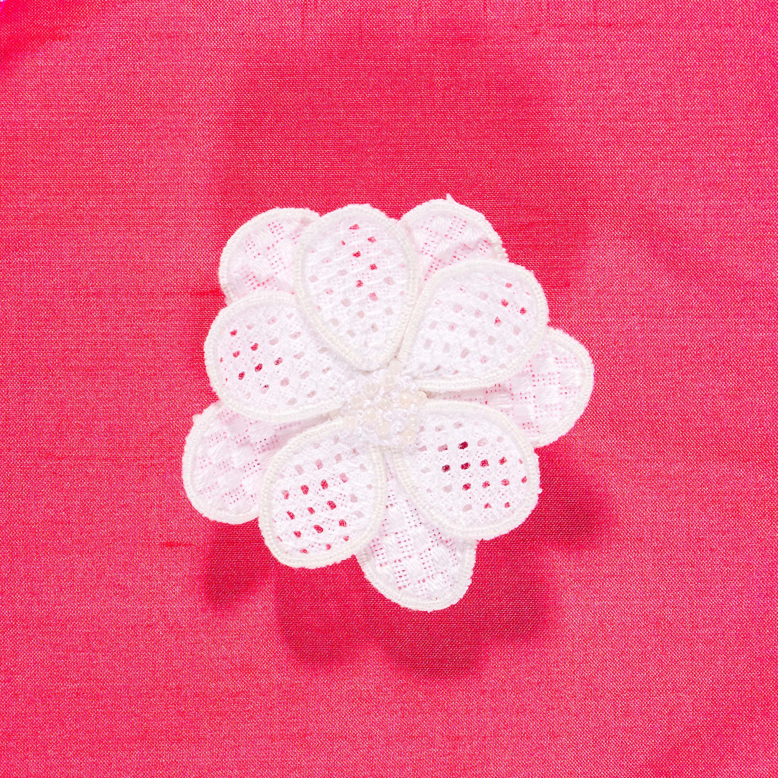 Whitework and stumpwork flower brooch embroidery kit