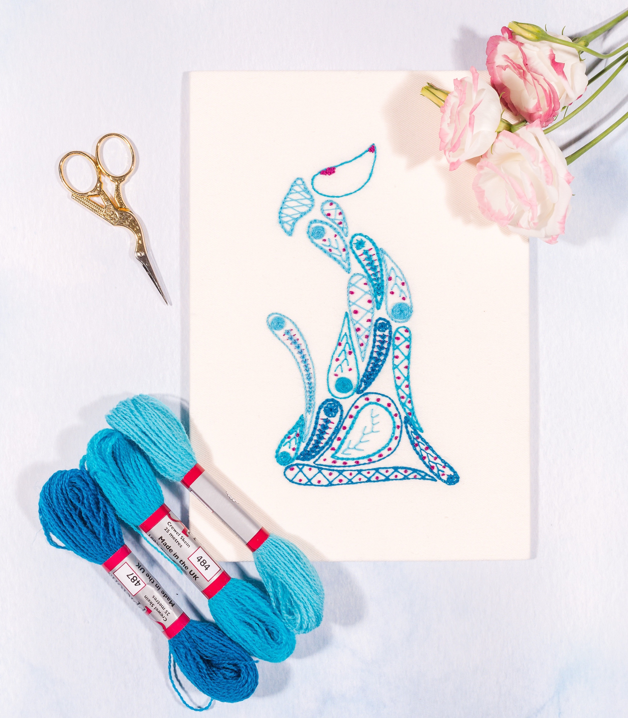blue and purple beginners greyhound embroidery kit