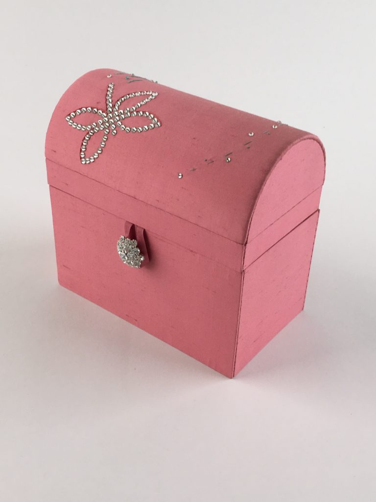 Pink dragonfly treasure chest embroidered with crystals