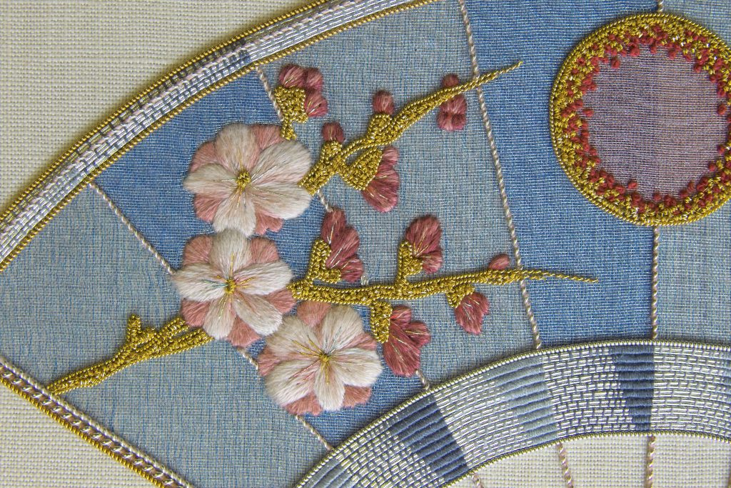Silk shaded and goldwork blossom on japanese style fan