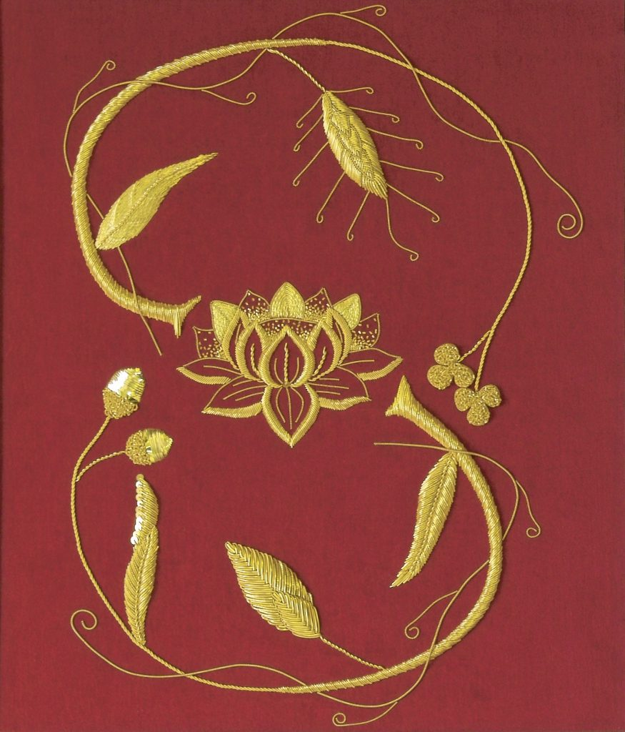goldwork embroidery on red velvet in the style of the Coronation robe.