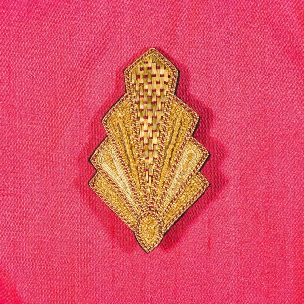 Goldwork embroidered art deco style brooch
