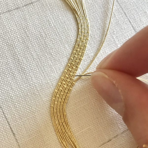 Couched gold passing, goldwork